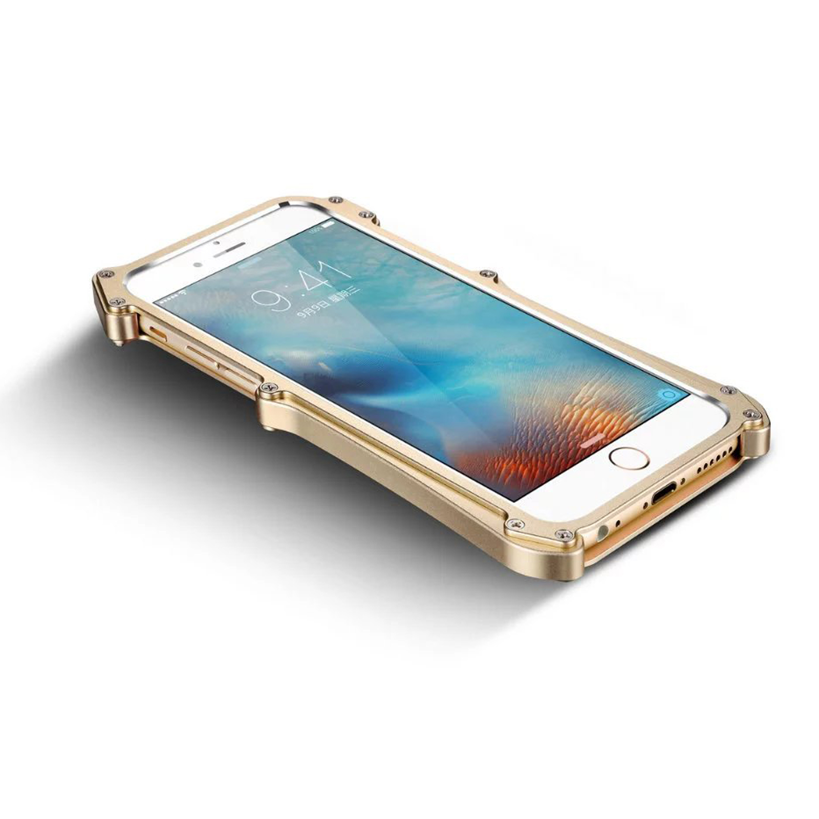 NEW Shockproof Metal Bumper Tempered Glass Clear Case