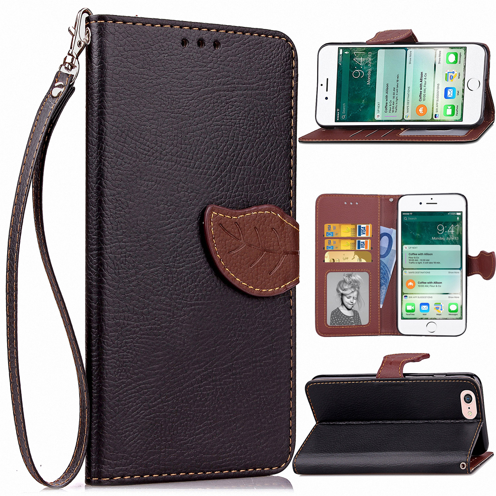 For Apple IPhone 6/6S Plus PU Leather Credit Card Holder