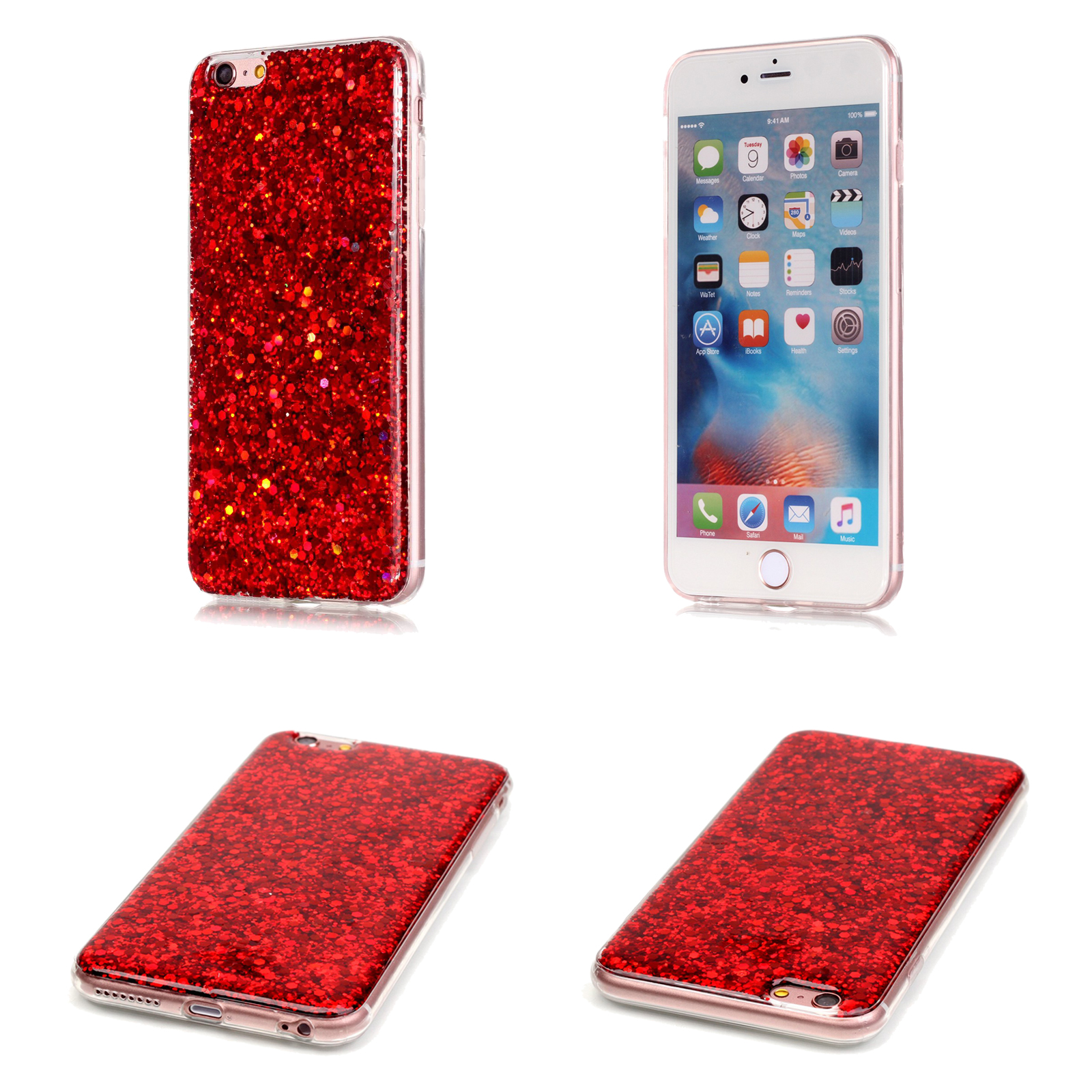 Luxury Bling Glitter Colorful Hard Slim Case Cover Skin For IPhone X 8 Plus 7 6s