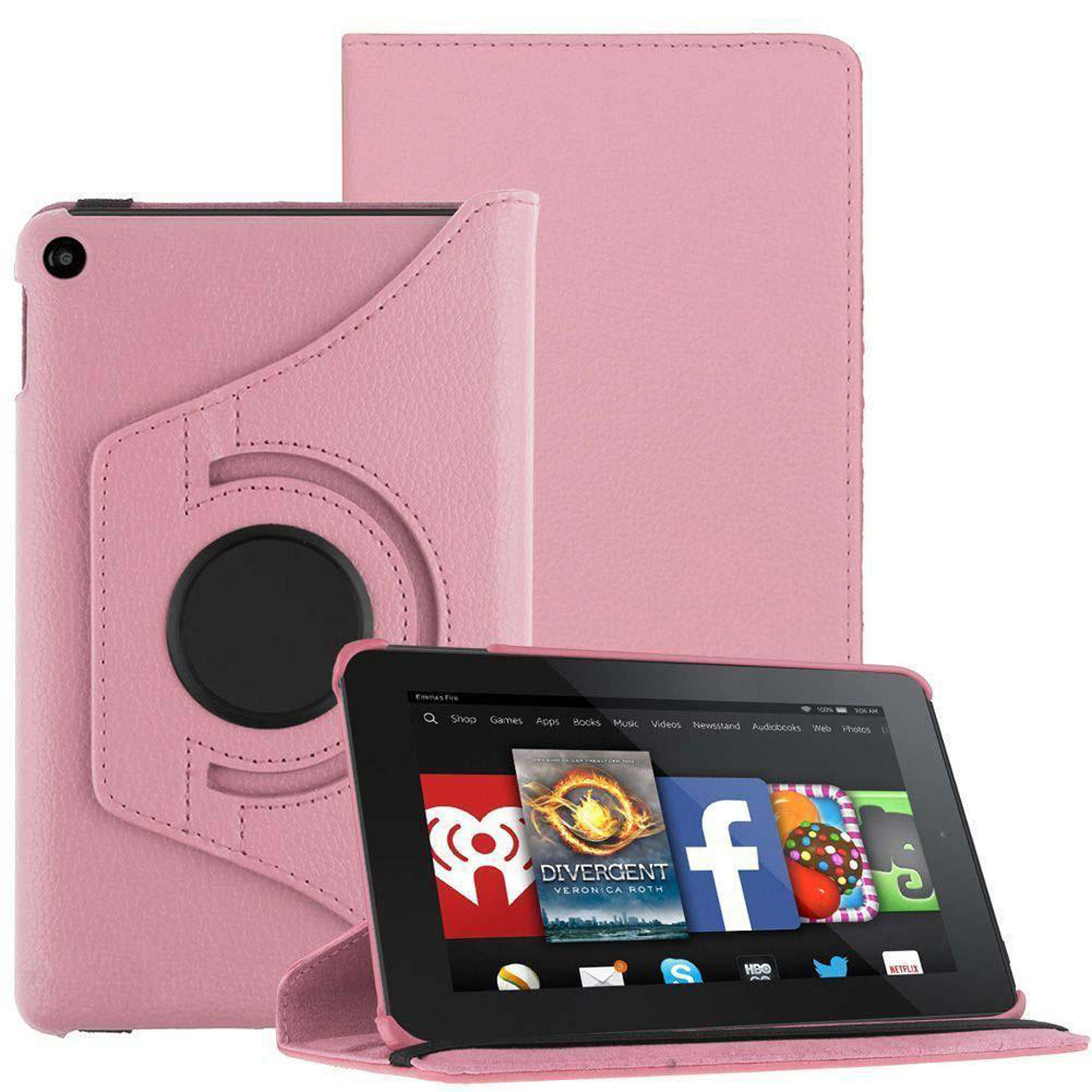 360 rotating magnetic leather case cover for amazon kindle for Amazon casa