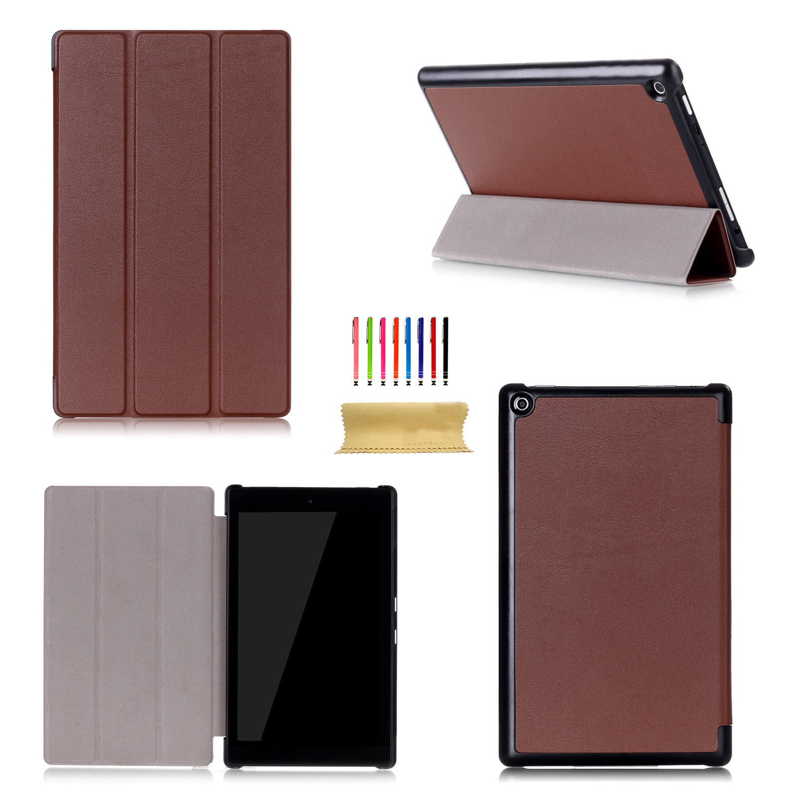 Luxury leather smart cover folio for amazon kindle fire hd for Amazon casa