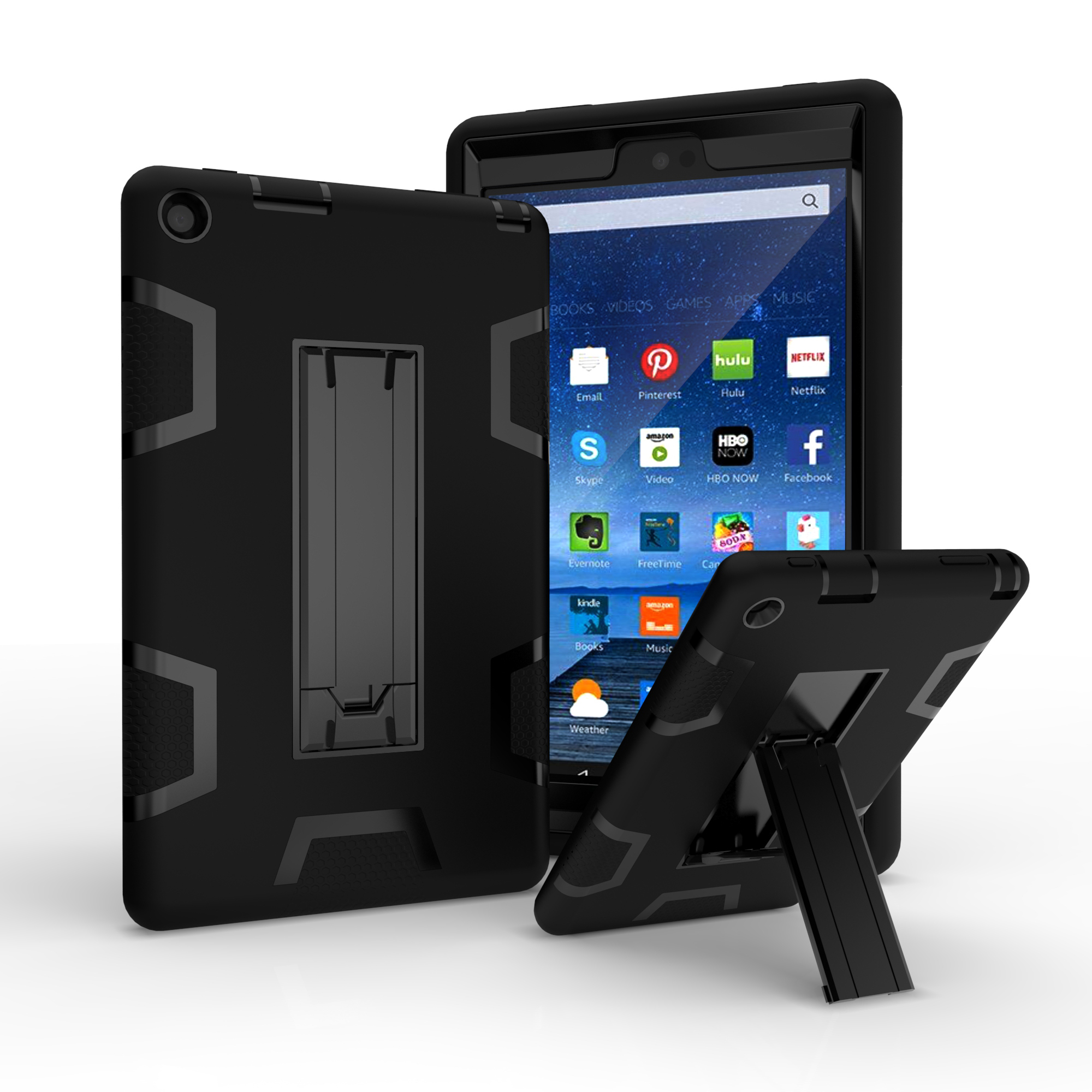 hybrid shockproof hard rubber case cover stand for amazon