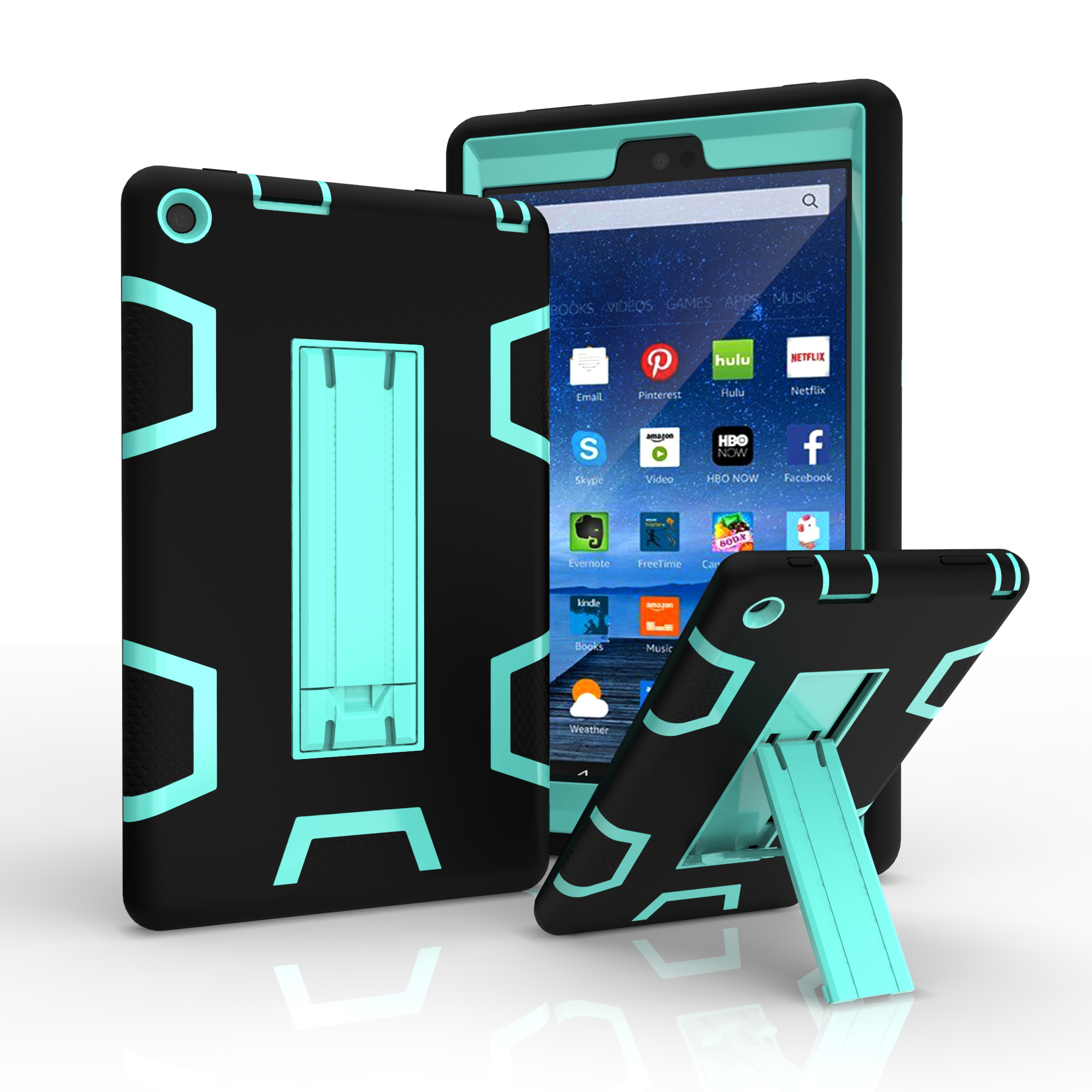 Hybrid shockproof hard rubber case cover stand for amazon for Amazon casa