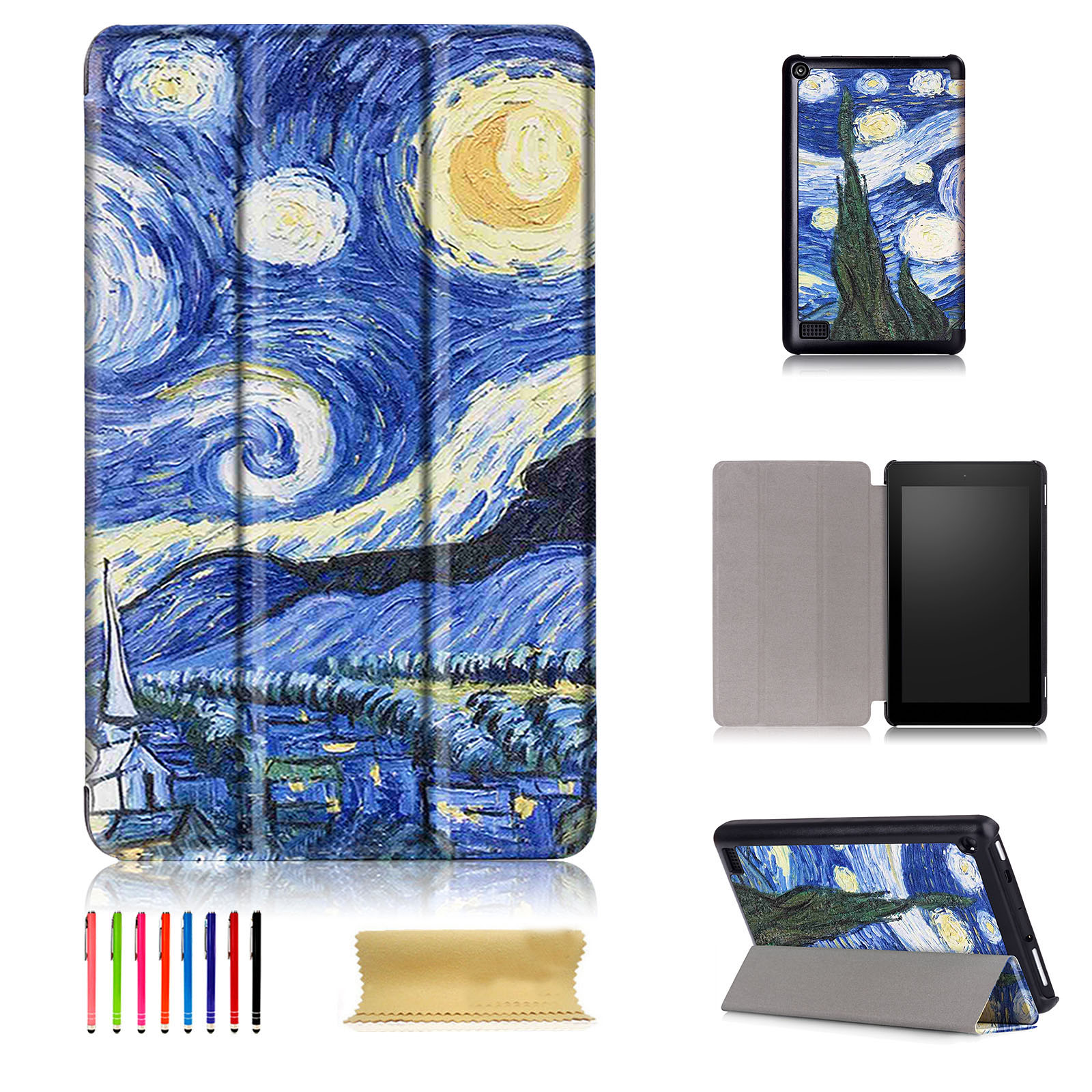 Pu leather folio case cover skin stand for amazon kindle for Amazon casa