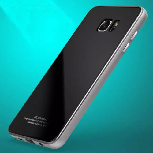 luphie luxury metal bumper tempered glass back case for