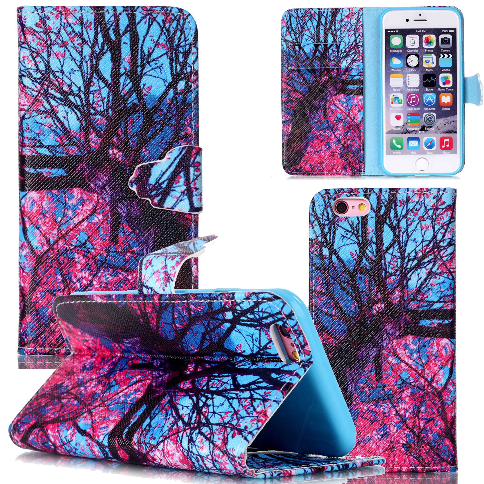 printed pattern flip stand case wallet card holder cover for