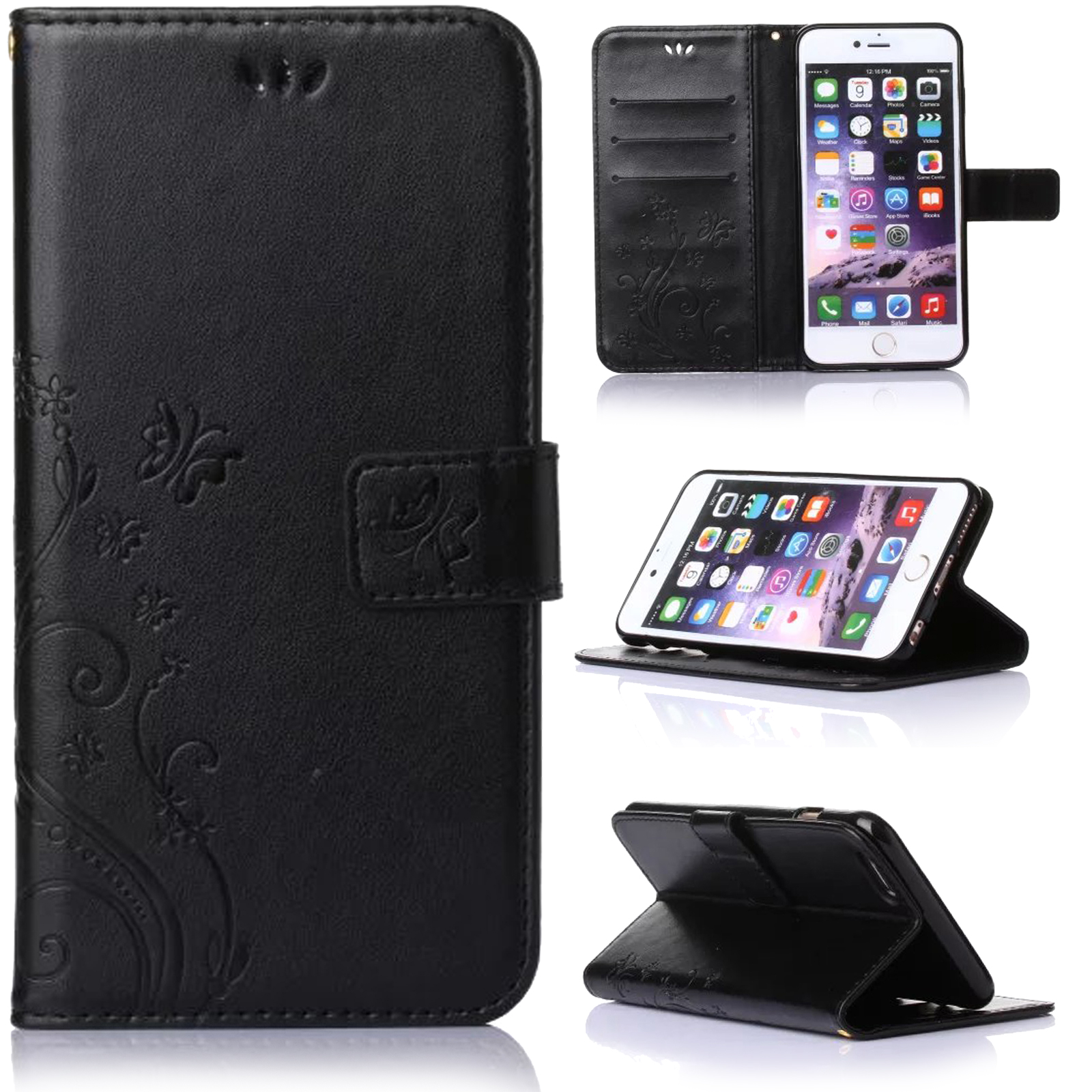retro leather wallet butterfly stand case cover for iphone. Black Bedroom Furniture Sets. Home Design Ideas