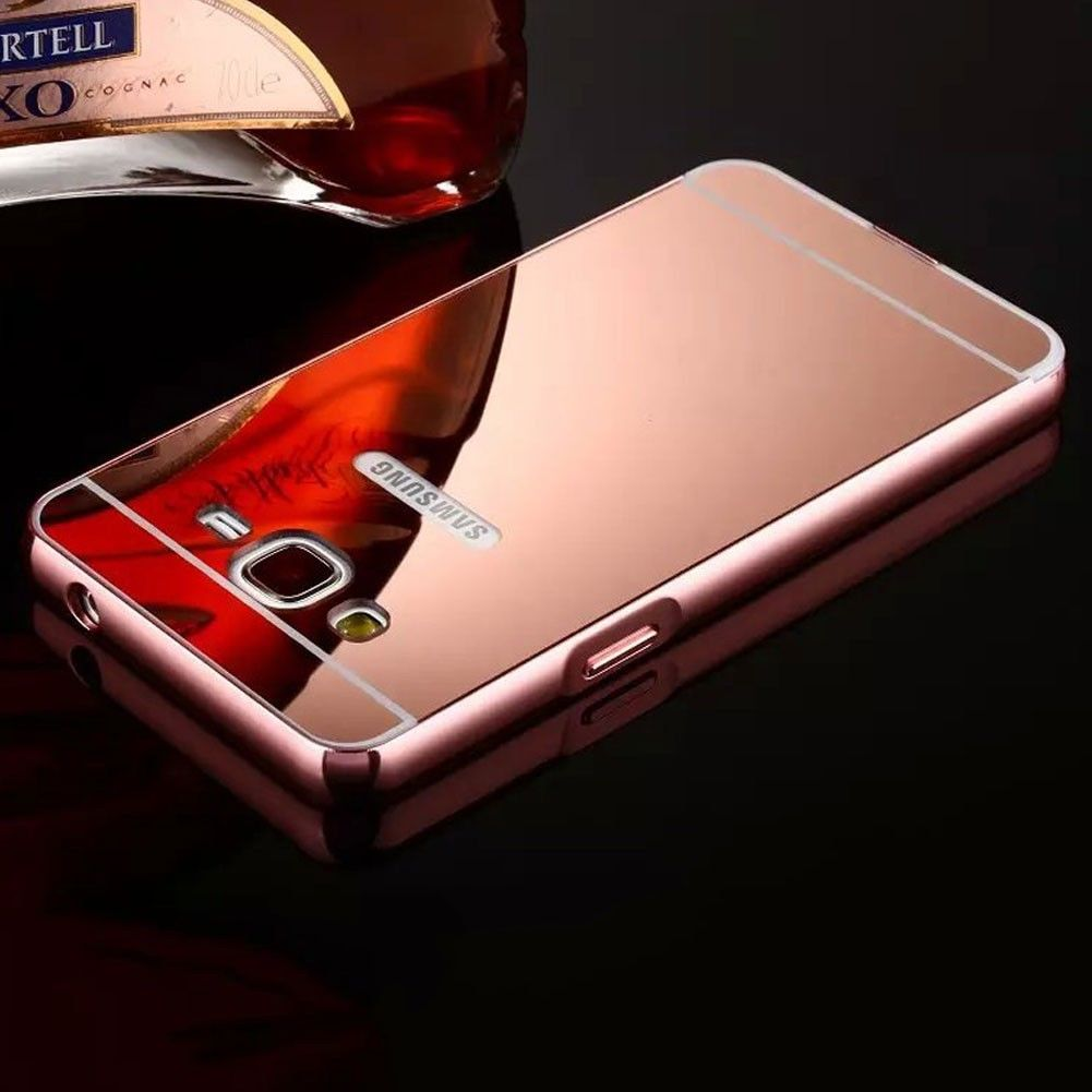 Samsung Galaxy J7 (2015) Luxury Aluminum Metal Bumper Mirror PC Back Case Cover