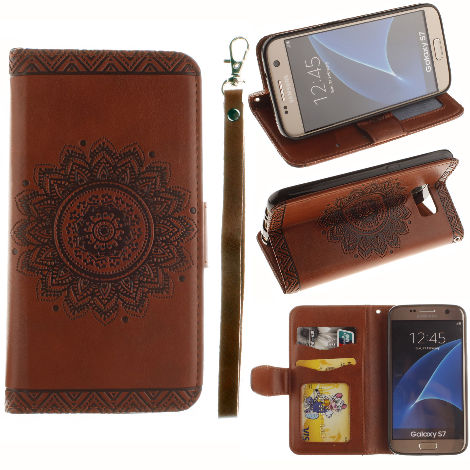 For Samsung Galaxy Grand Prime S5 S6 S7 Edge Card Wallet