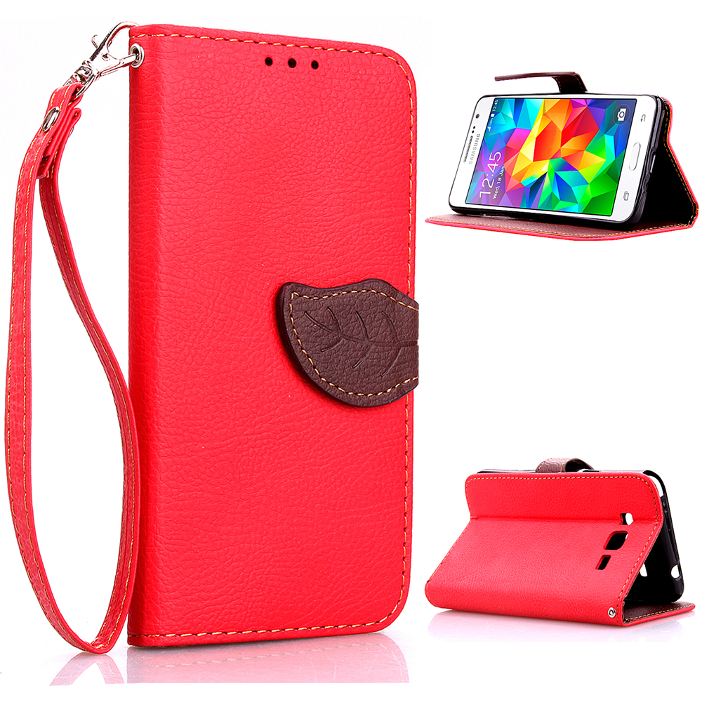For Samsung Phone Leaf Flip PU Leather Wristle Strap Wallet Stand Case Cover