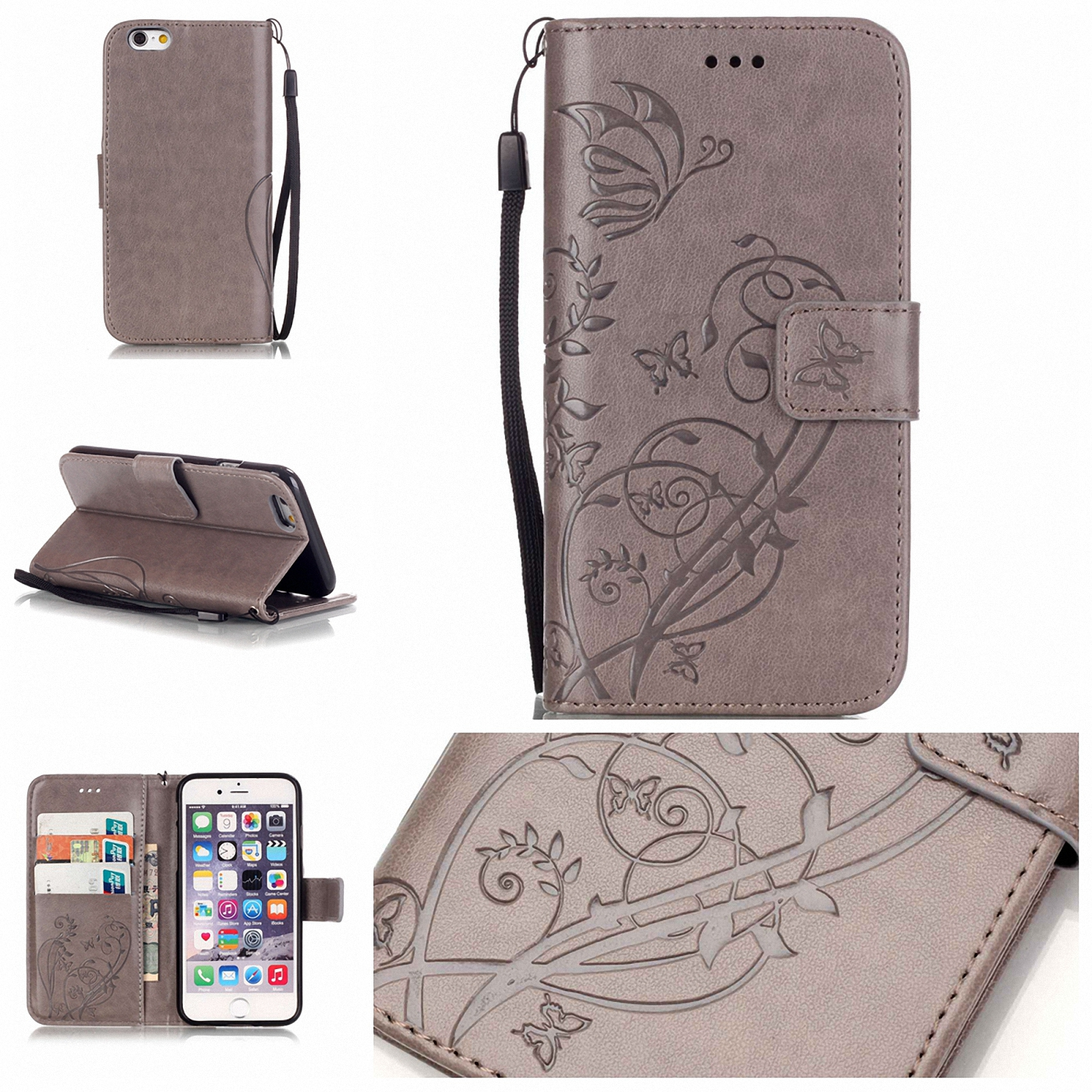 retro butterfly flip leather wallet stand case cover for iphone 8