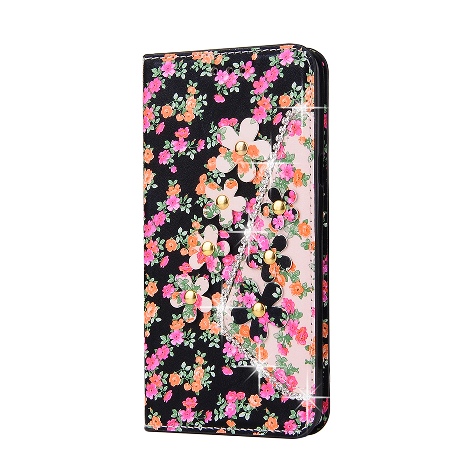 Bling Flip Leather Wallet Card Case Cover For Samsung