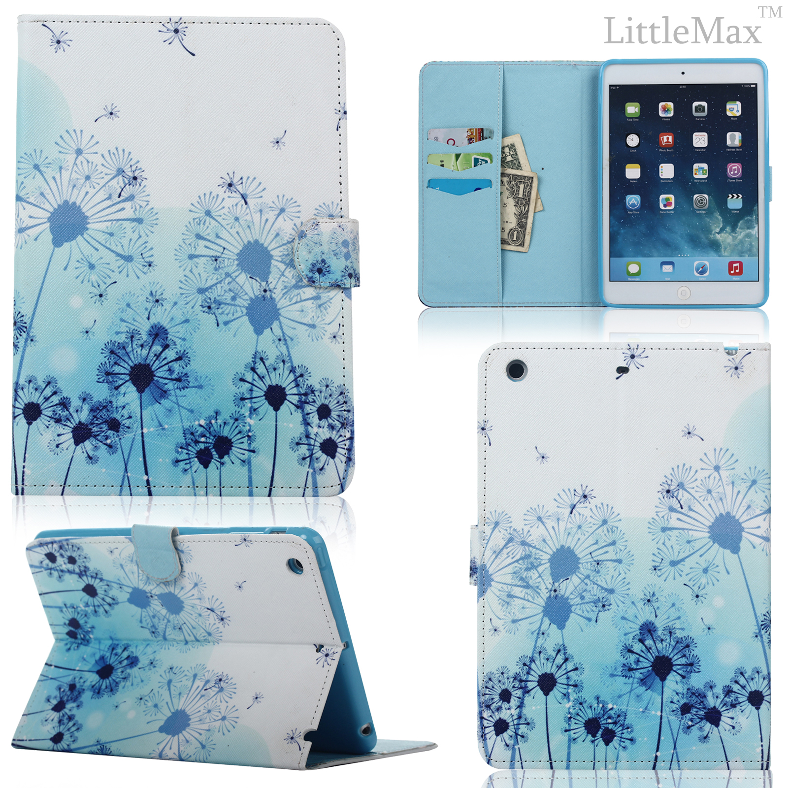 cute pattern folio pu leather wallet case cover for apple ipad