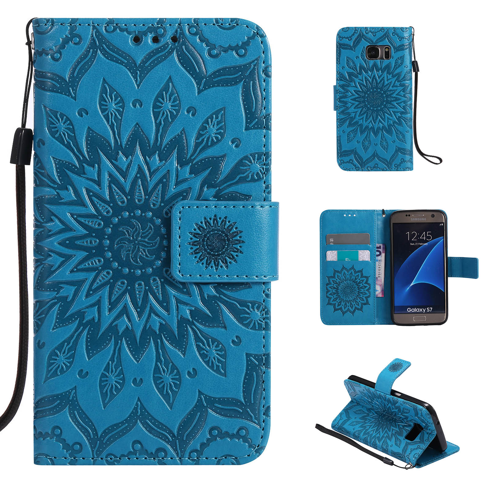 Luxury Flower Pattern PU Leather Wallet Stand Case Cover Fr Samsung Galaxy Phone