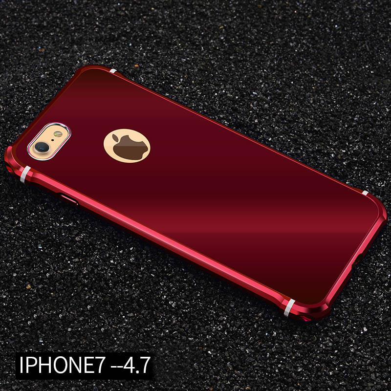 Shockproof aluminum metal bumper mirror pc back case cover for Mirror iphone to pc