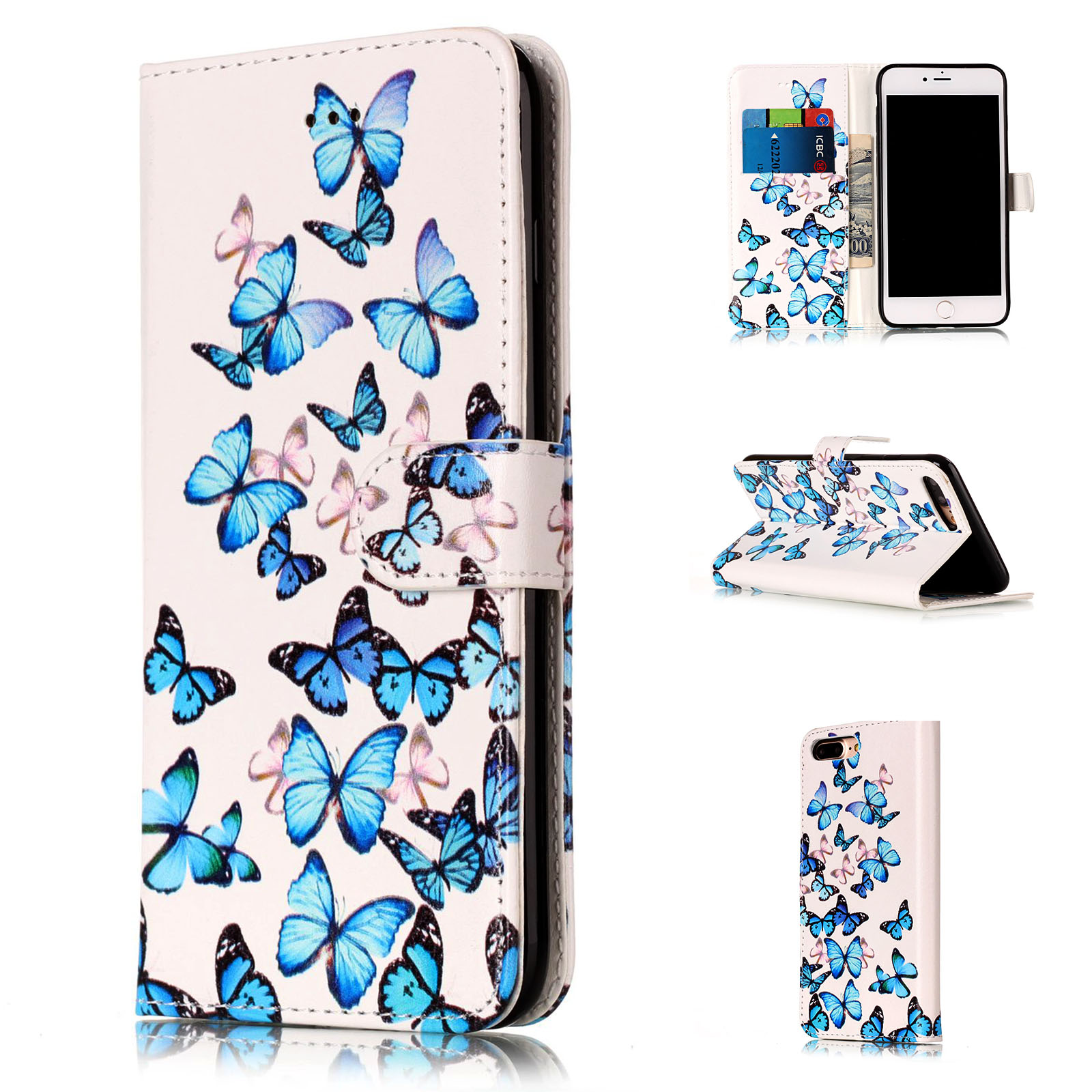 Hybrid Flip Wallet Leather Holster Case Cover Stand For iPod Touch 5th 6th Gen