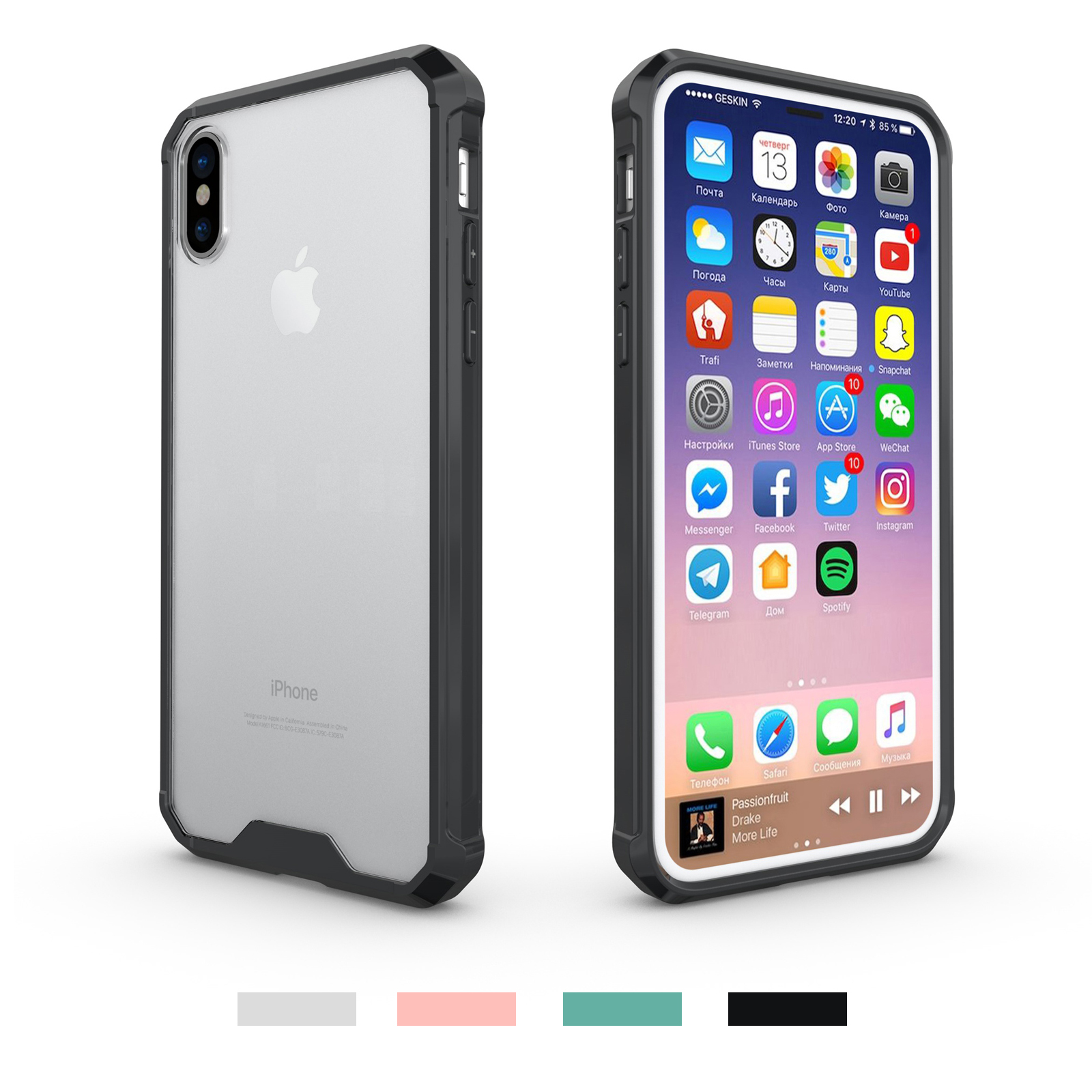 the latest 28249 698a9 Details about For iPhone Xs Max XR/8/7 Crystal Clear Hybrid Ultra-thin  Bumper Hard Case Cover