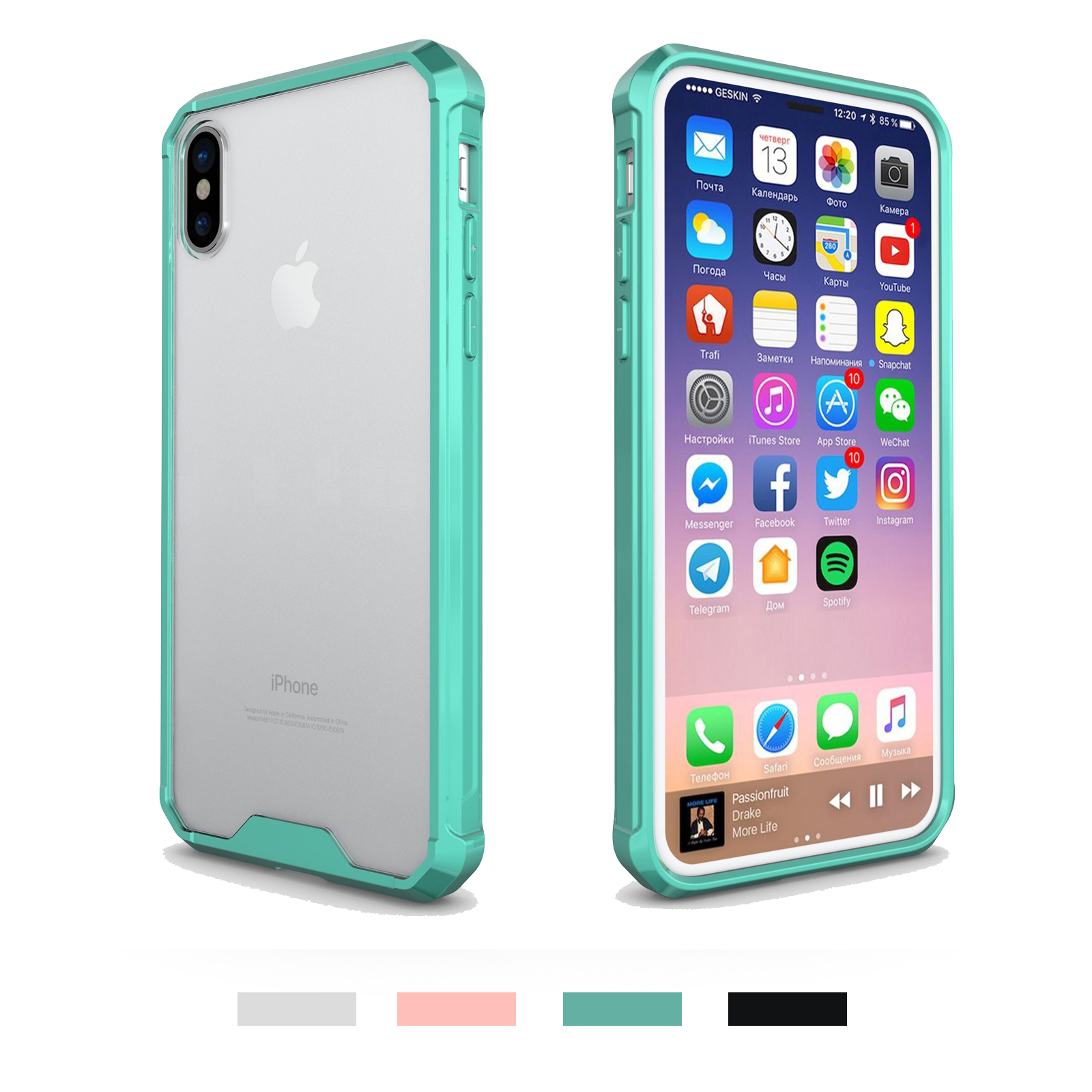for iphone x 8 plus crystal clear hybrid ultra thin bumper. Black Bedroom Furniture Sets. Home Design Ideas