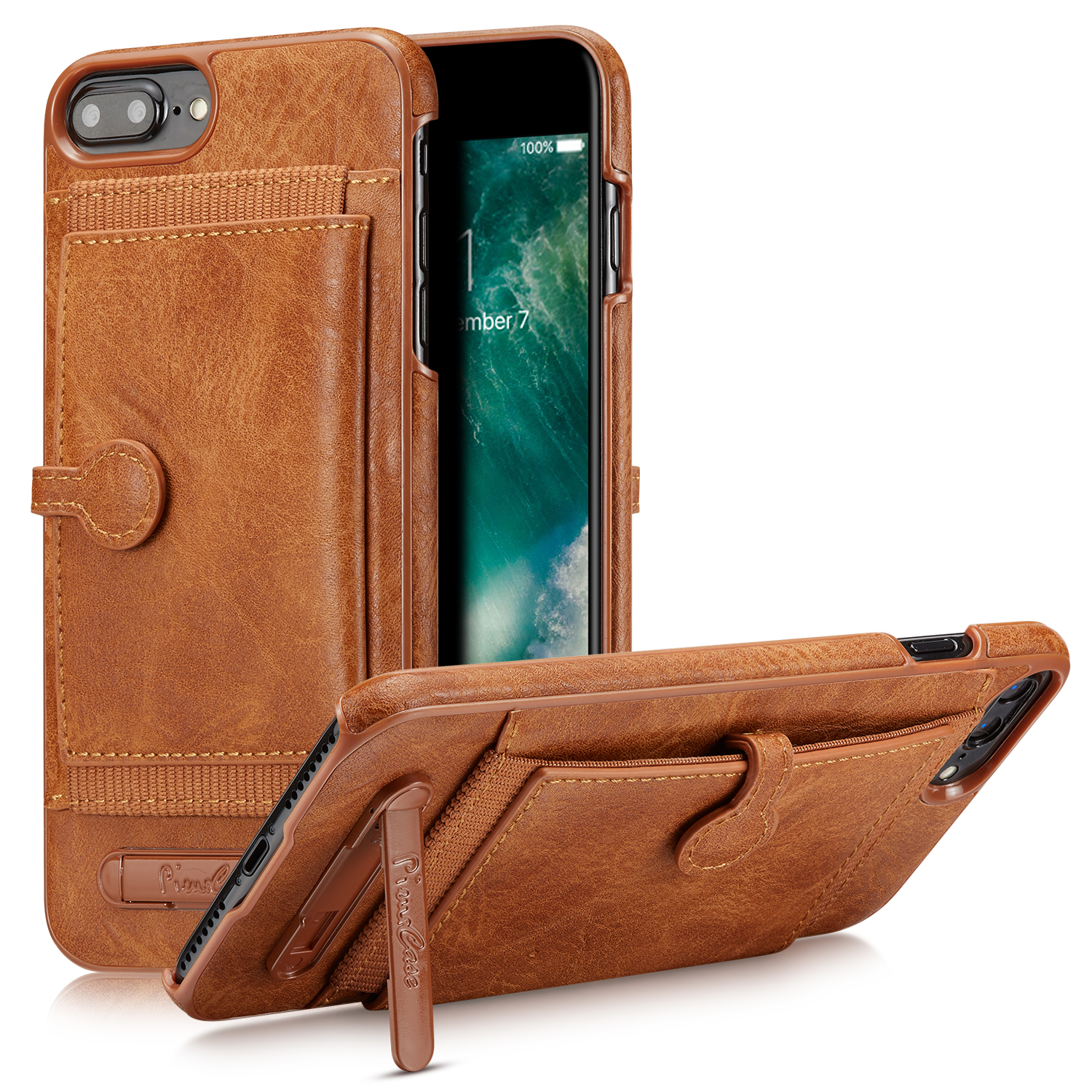 Leather Wallet Card Slot Holder Flip Stand Cover Case For