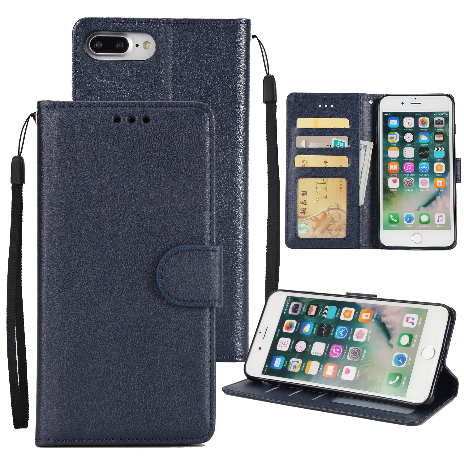 For iPhone 8 6s 7 Plus X Leather Credit Card Holder Wallet