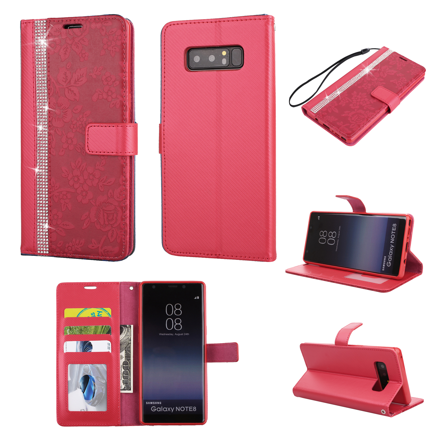 fr samsung galaxy note 8 flip leather diamond bling wallet card stand case cover ebay. Black Bedroom Furniture Sets. Home Design Ideas